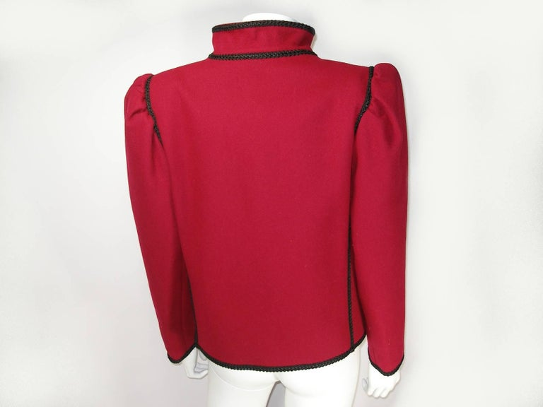 Women's Circa 80's Yves Saint Laurent Russian Collection Wool Red Jacket Size FR40 US10 For Sale
