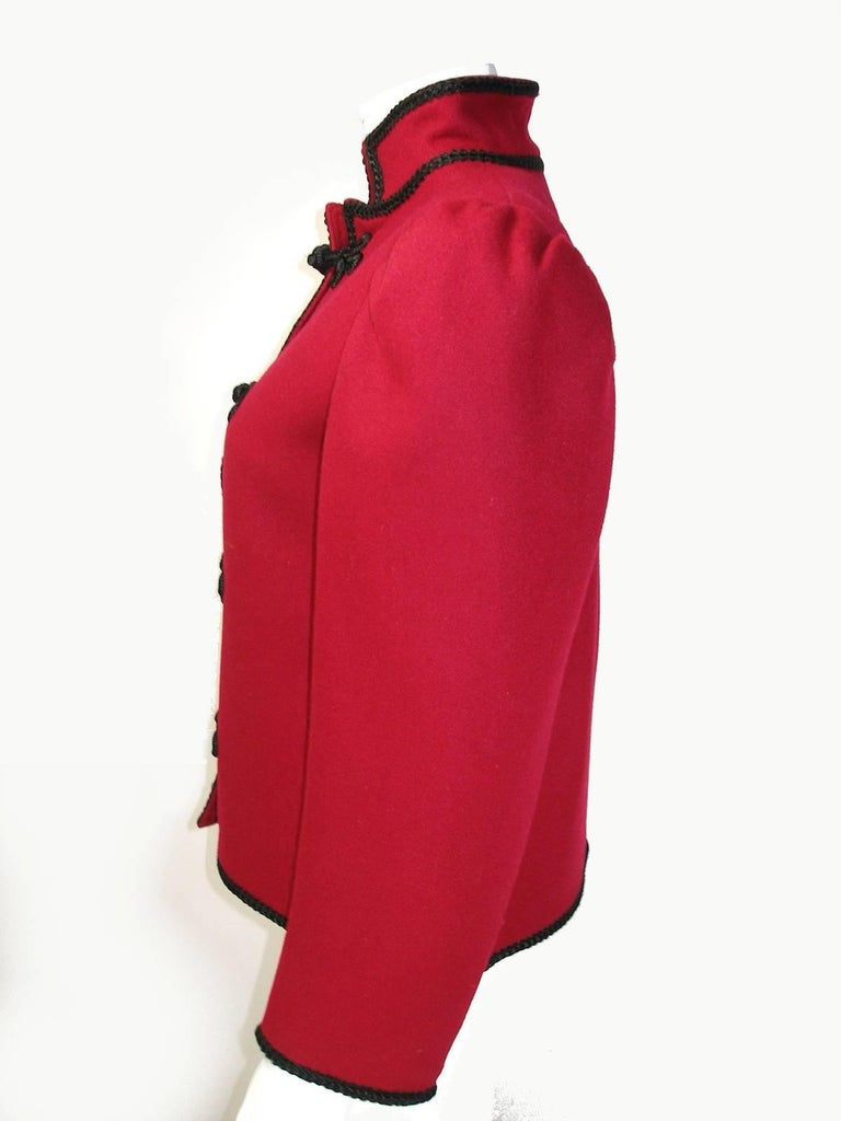 Circa 80's Yves Saint Laurent Russian Collection Wool Red Jacket Size FR40 US10 For Sale 1