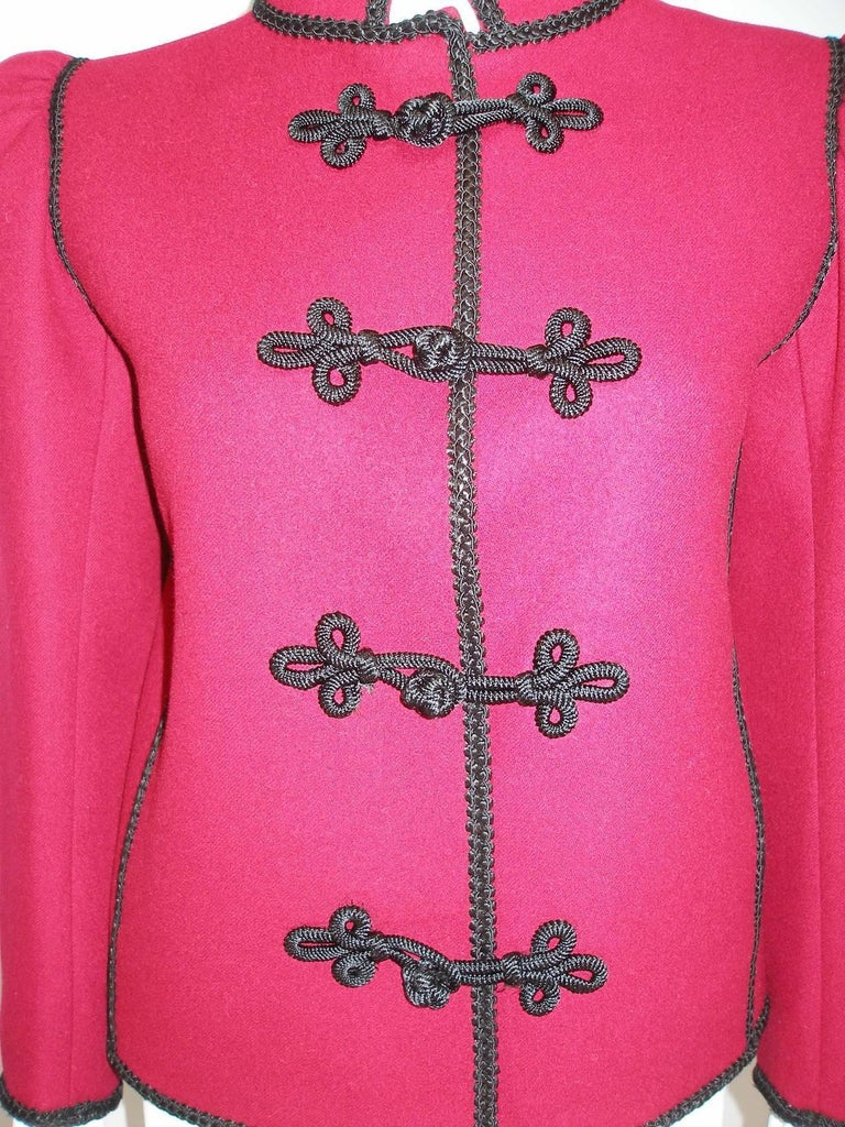 Circa 80's Yves Saint Laurent Russian Collection Wool Red Jacket Size FR40 US10 For Sale 4