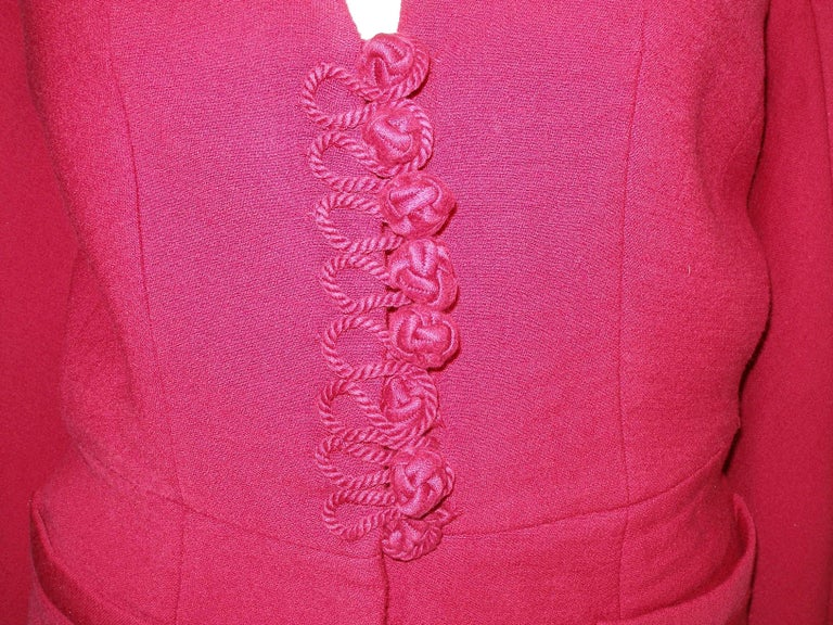 Red John Galliano For Christian Dior Runway Wool Framboise Suit Skirt FR38, 2009   For Sale