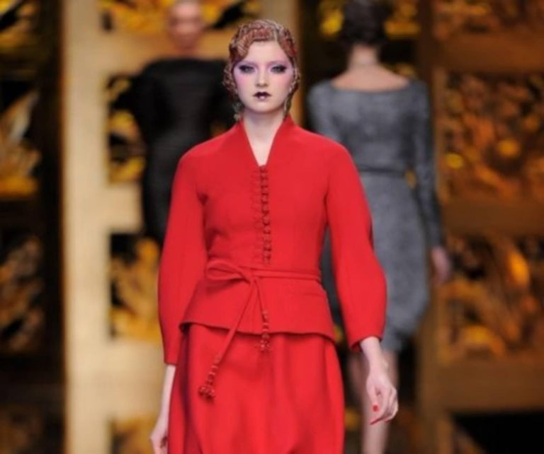 John Galliano For Christian Dior Runway Wool Framboise Suit Skirt FR38, 2009   For Sale 4