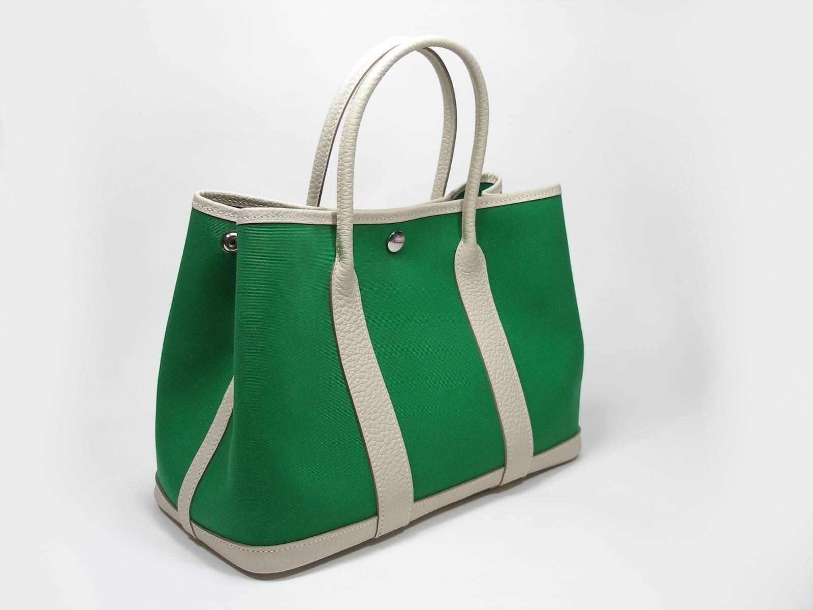 0bdaa73dda06 Hermès Garden Party Bag 30 cm PM Size Cactus Canvas + Craie Leather at  1stdibs