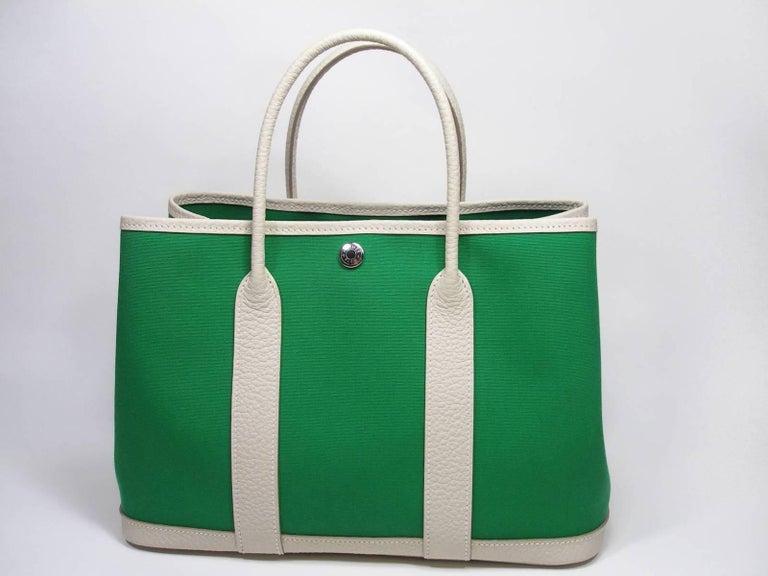 c83acaf786b0 Blue Hermès Garden Party Bag 30 cm PM Size Cactus Canvas + Craie Leather  For Sale