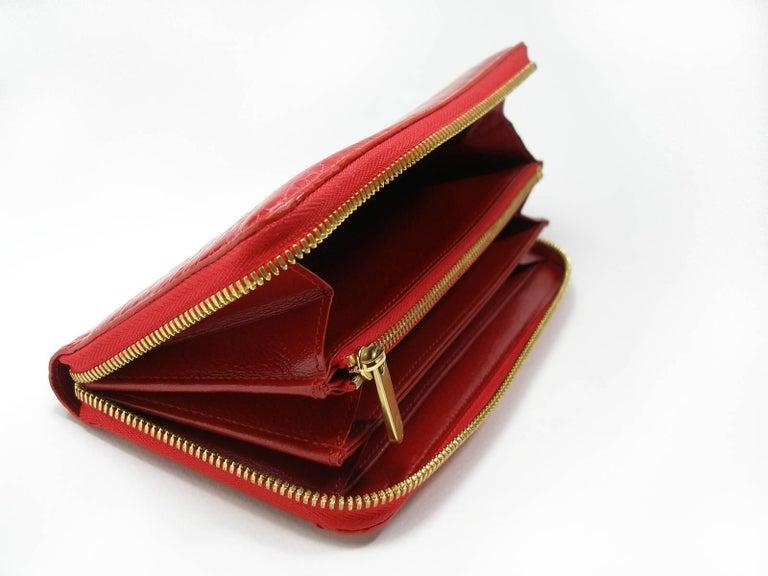 Circa 2010's Rare Louis Vuitton Wallet or Clutch Zippy Red Alligator Wallet For Sale 3