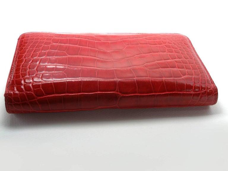 Circa 2010's Rare Louis Vuitton Wallet or Clutch Zippy Red Alligator Wallet For Sale 2