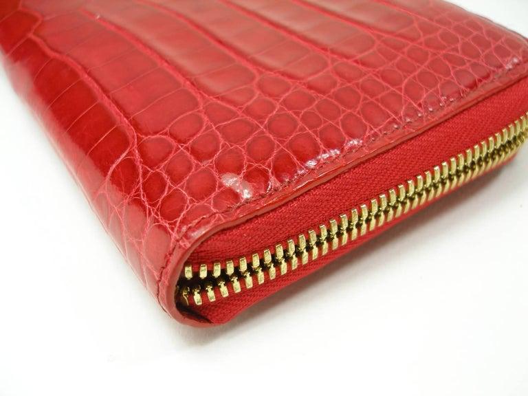 Circa 2010's Rare Louis Vuitton Wallet or Clutch Zippy Red Alligator Wallet For Sale 4