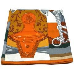 """Hermès 140cm /55 """"GM Shawl Della Cavalleria Cashmere / Like New"""