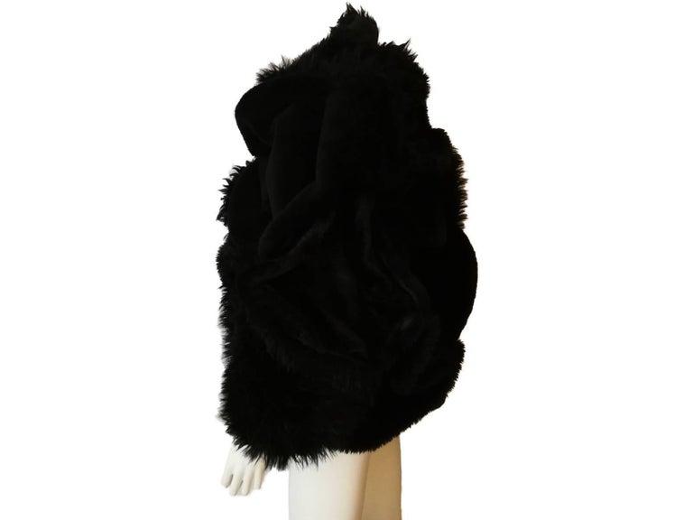 Black Collectible Piéce Junya Watanabe Comme des Garçons Fake Fur Cape Boléro M Size For Sale