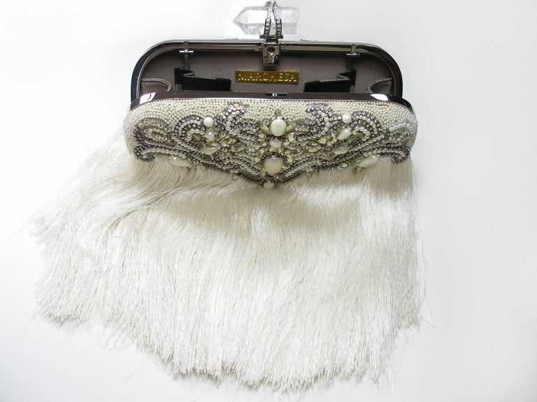 Gray Couture Marchesa Lily Embroidered and Embellished White Fringed Beaded Clutch For Sale