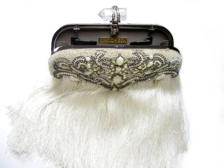 Couture Marchesa Lily Embroidered and Embellished White Fringed Beaded Clutch For Sale 1