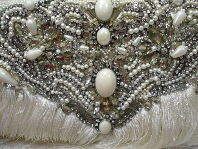Couture Marchesa Lily Embroidered and Embellished White Fringed Beaded Clutch For Sale 7