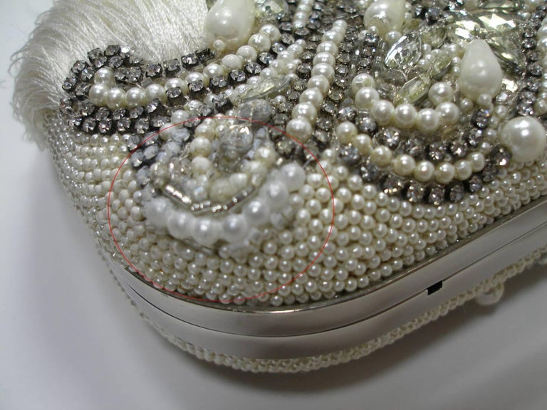 Couture Marchesa Lily Embroidered and Embellished White Fringed Beaded Clutch For Sale 9