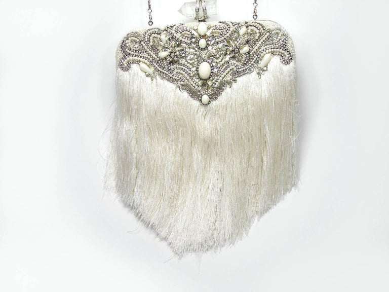 Couture Marchesa Lily Embroidered and Embellished White Fringed Beaded Clutch For Sale 4