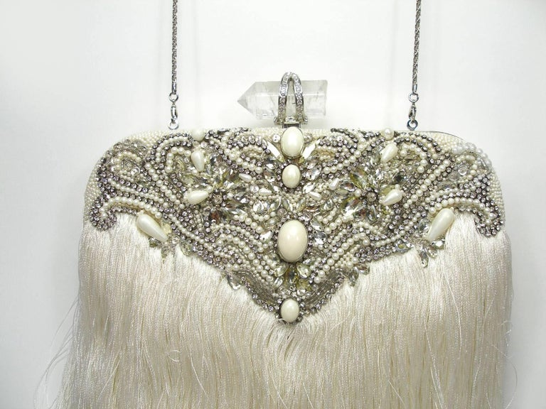 Couture Marchesa Lily Embroidered and Embellished White Fringed Beaded Clutch For Sale 3