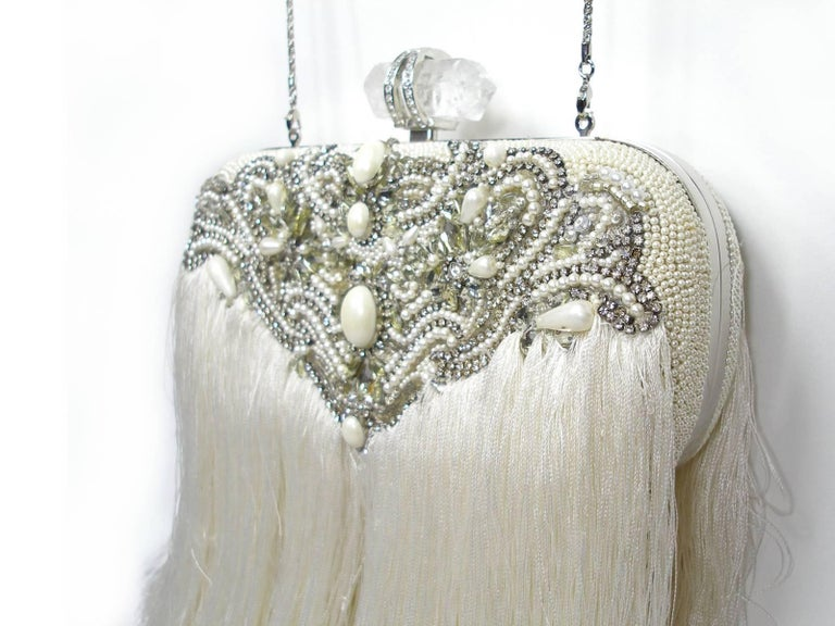 Women's Couture Marchesa Lily Embroidered and Embellished White Fringed Beaded Clutch For Sale