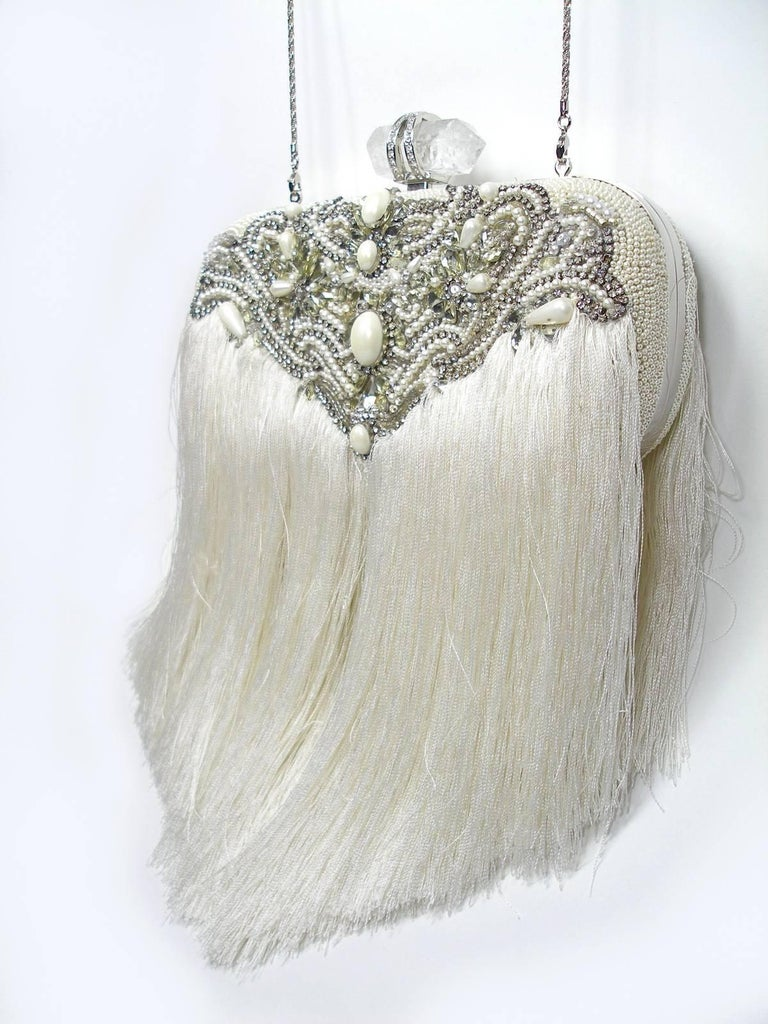 Couture Marchesa Lily Embroidered and Embellished White Fringed Beaded Clutch For Sale 2