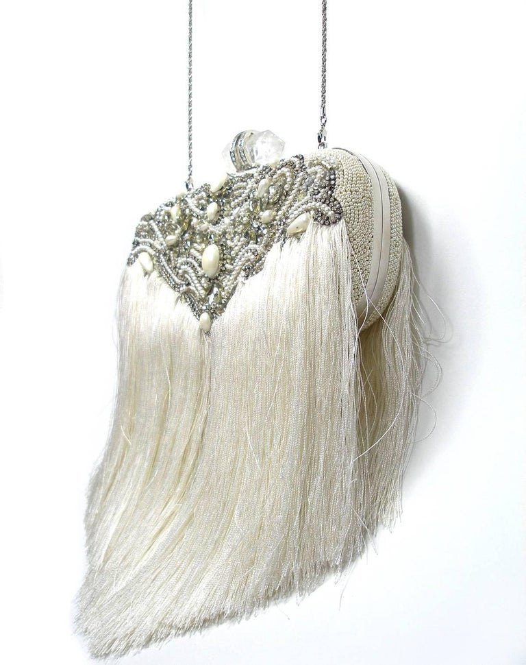 Couture Marchesa Lily Embroidered and Embellished White Fringed Beaded Clutch For Sale 6