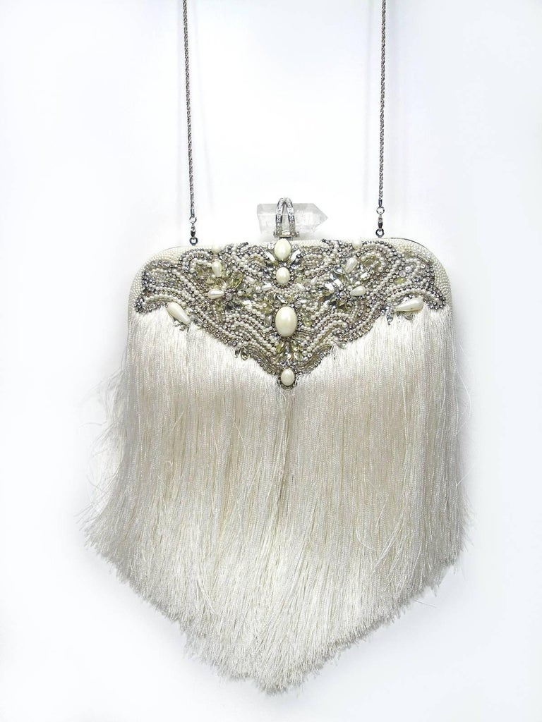 Couture Marchesa Lily Embroidered and Embellished White Fringed Beaded Clutch For Sale 5