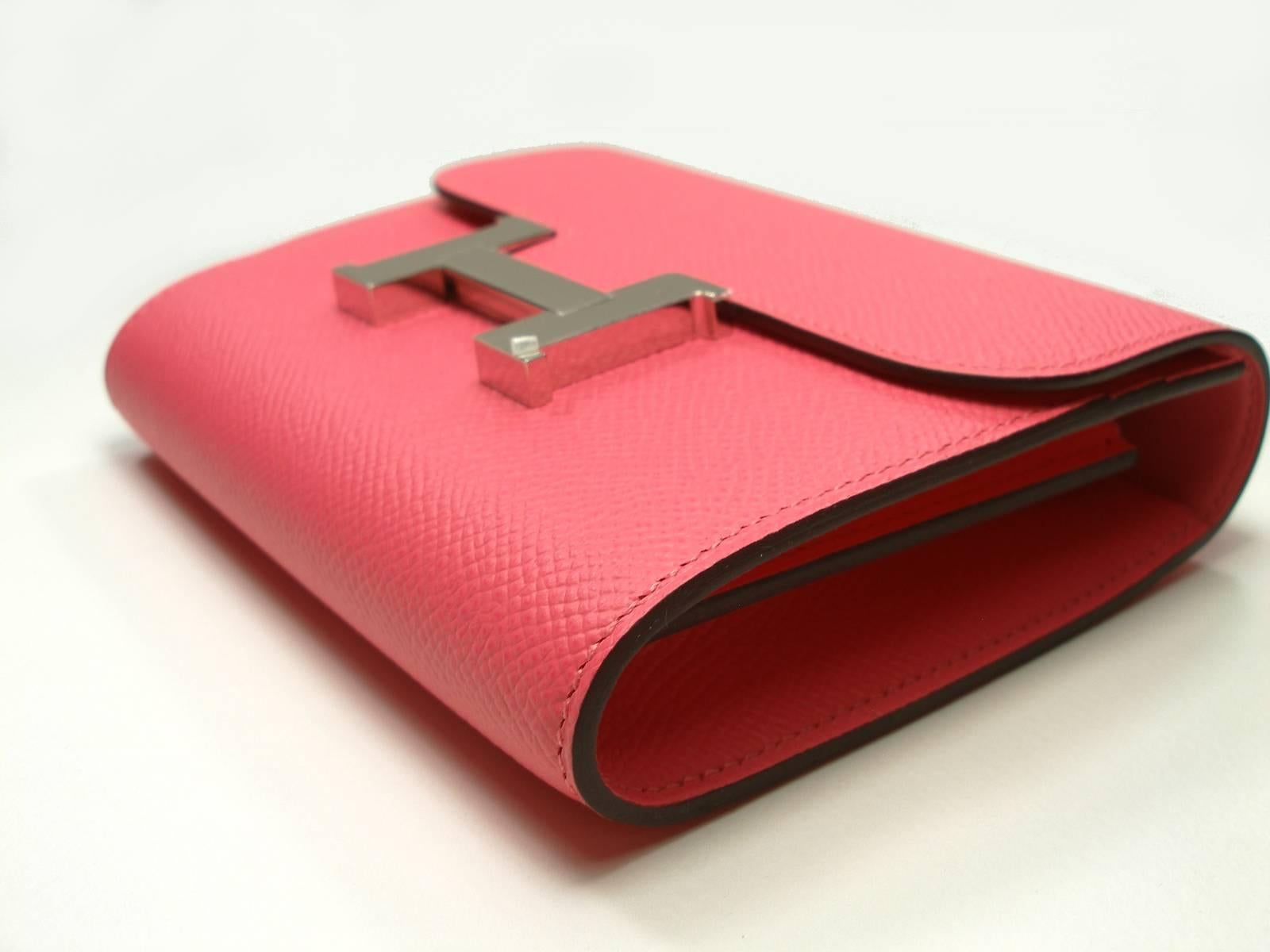 4729c4417008 ... purse rose extreme red pink epsom leather reebonz wholesale hermes blue  electric epsom constance compact wallet 09b3b f41e8 release date hermes rose  ...