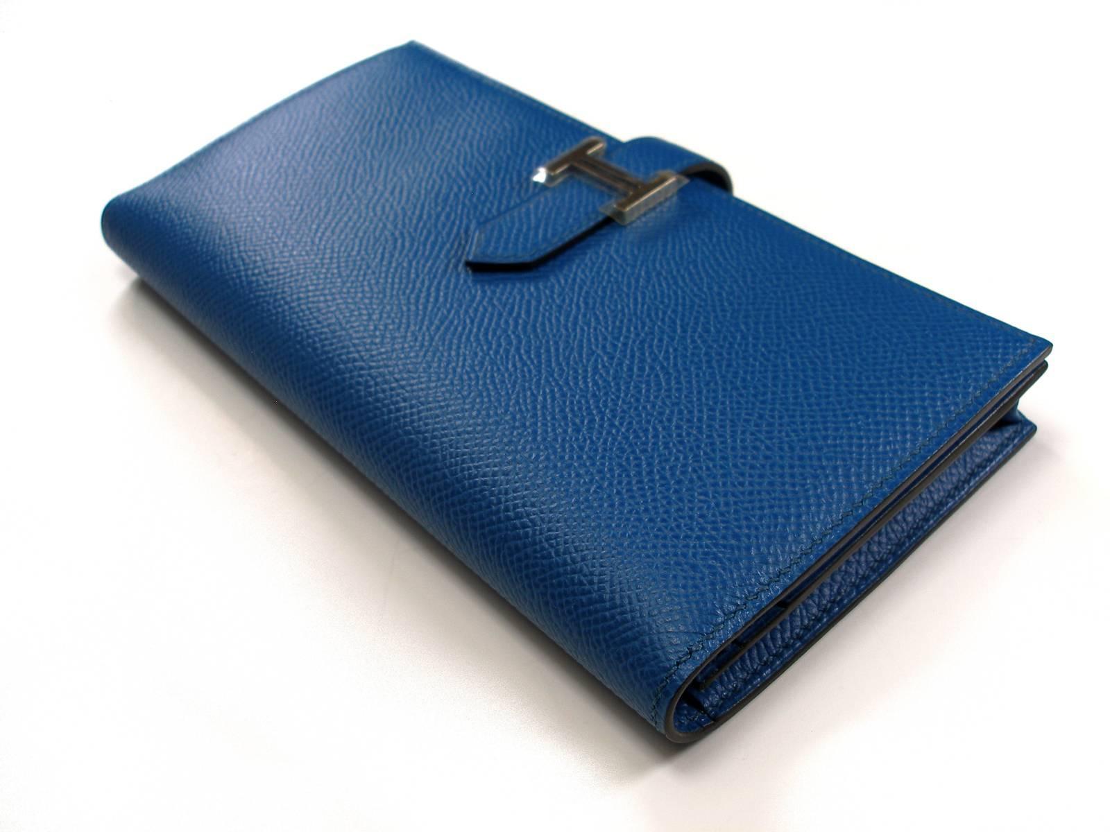9e0c5a25d8 ... hermes red rouge h gold hardware ce94d 8aca9  where can i buy blue  hermès bleu electrique epsom leather h palladium bearn wallet for sale