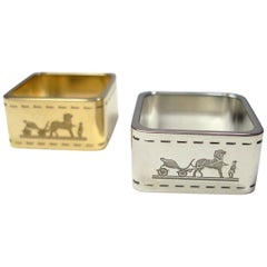Hermès Set of 2 Bolduc Permabrass and Palladium Scarf Rings