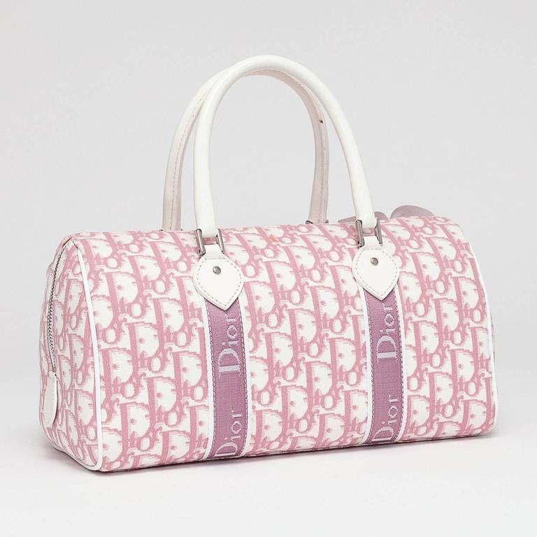 12b73b00f596 Beige christian dior pink white logo canvas girly flowers boston tote bag  for sale jpg 768x768