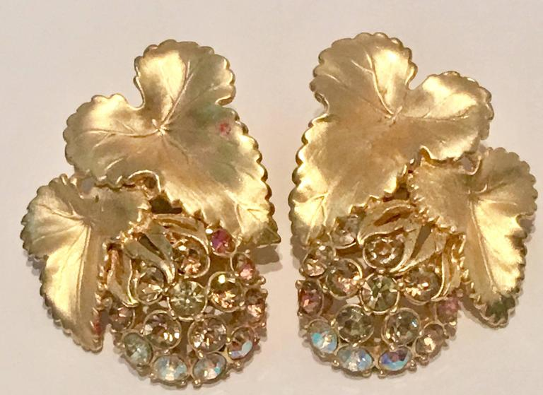 Elsa Schiaparelli Brushed Gold Swarovski Crystal Demi