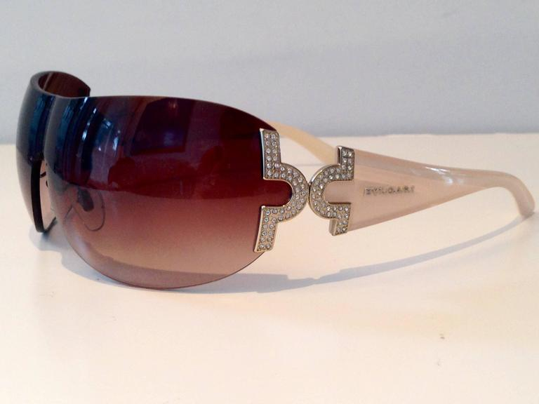 ffe8b524b76fd Brown Bvlgari Pale Pink   Swarovski Crystal Sunglasses For Sale