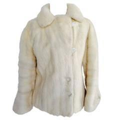 """1970'S Oleg Cassini Winter White Mink & Lucite """"Bling"""" Jacket"""