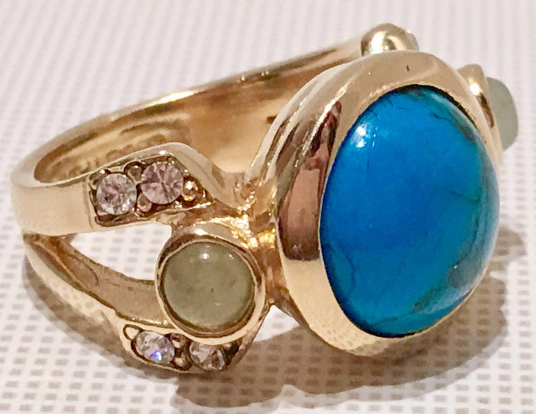 judith leiber turquiose and aventurine gold cocktail ring