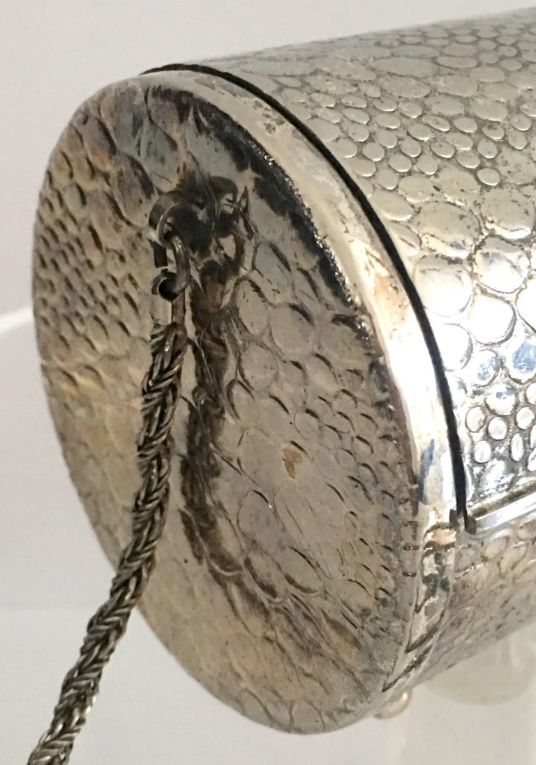 80 S Silver Plate Quot Tootsie Roll Quot Box Evening Bag By