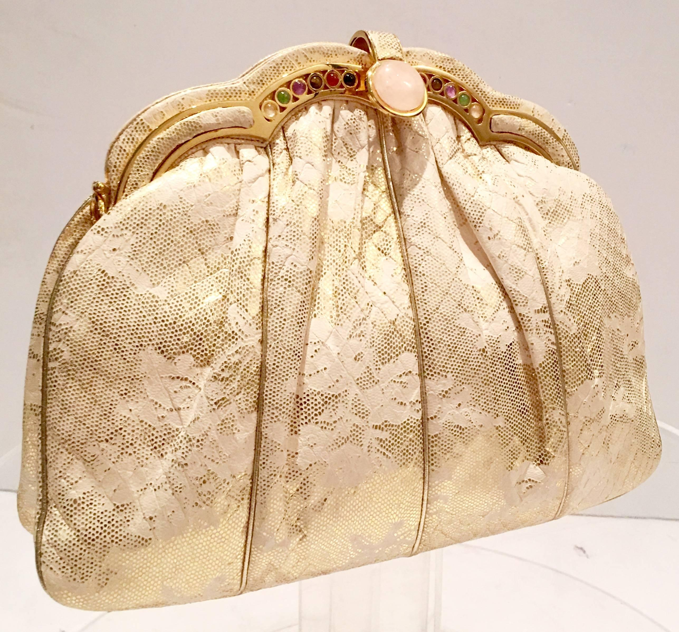 Judith Leiber Brushed Metal Evening Purse With Stone Details Optional Strap 5KGUfB