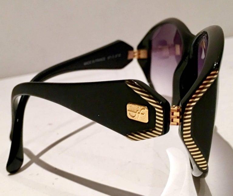 1980'S Black, Gold & Purple gradient acrylic lenses Jacques Faith unisex sunglasses. Gold inscribed