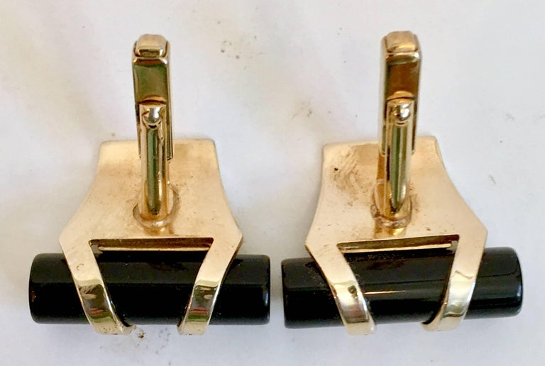 50'S Pair Of Art Deco Style Onyx & 12K Gold Cuff Links By, Anson For Sale 1