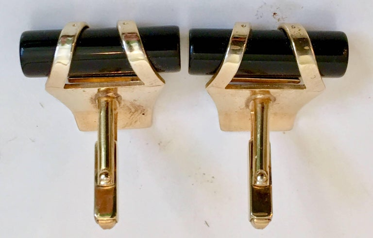 Women's or Men's 50'S Pair Of Art Deco Style Onyx & 12K Gold Cuff Links By, Anson For Sale