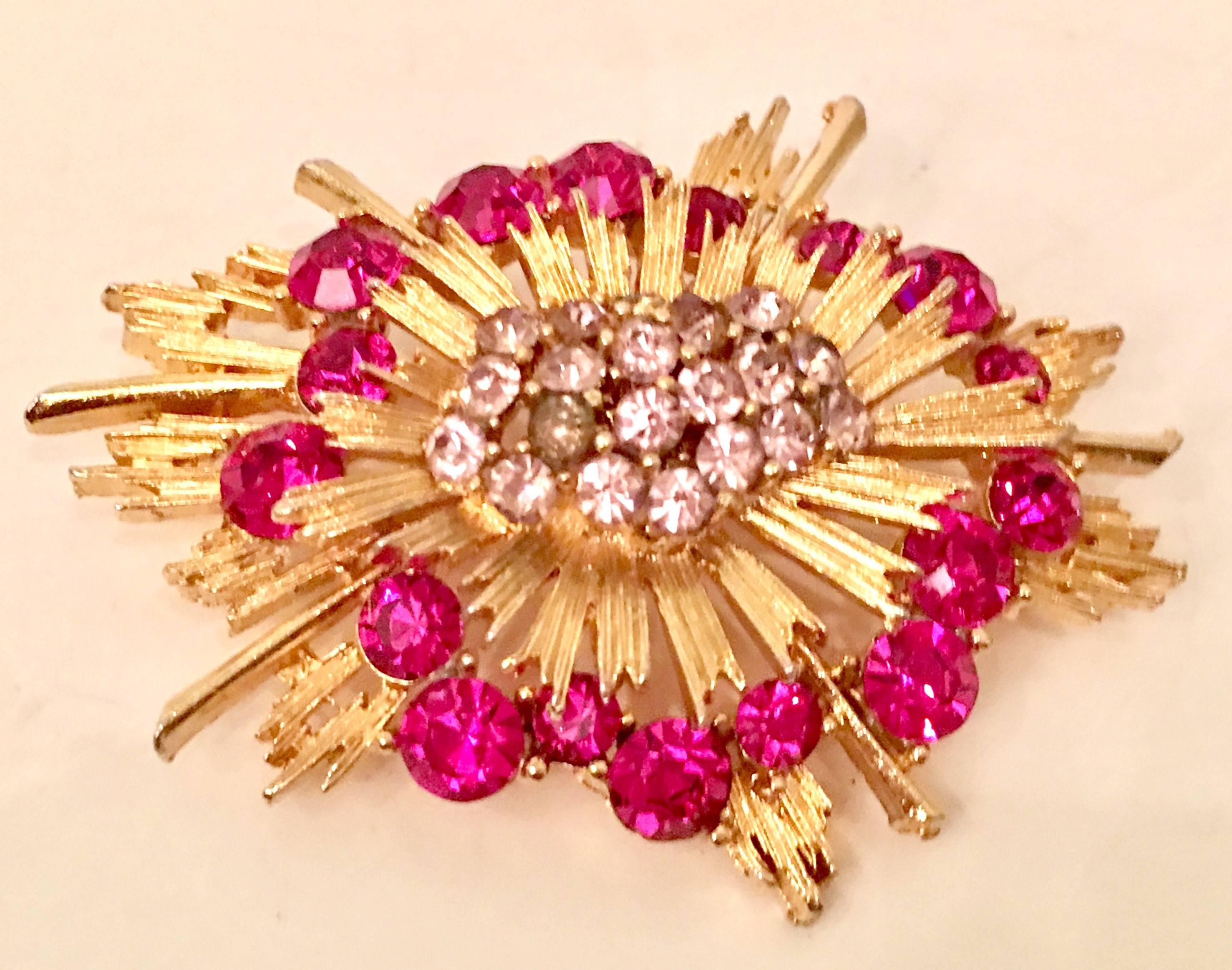 VIntage Gold and Pink Sapphite Austrian Crystal Starburst Brooch For Sale  at 1stdibs 03be4dbbdba8