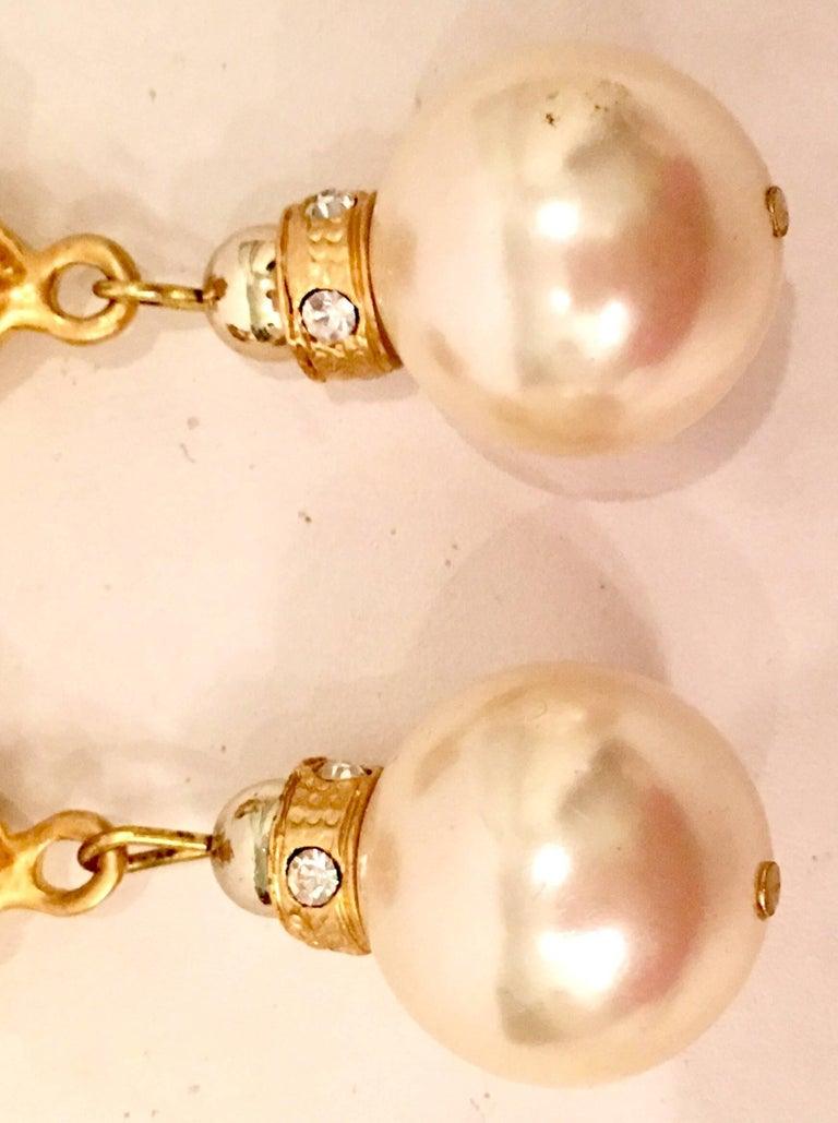 80'S Gold & Faux Pearl Bead Swarovski Crystal Drop Earrings By, Christian Dior In Excellent Condition For Sale In West Palm Beach, FL