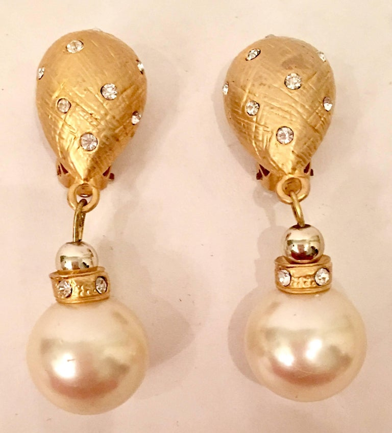 1980'S Brushed Gold Plate, Faux Pearl Bead & Swarovski Crystal Rhinestone Drop Earrings. These Christian Dior Earrings, originally part of a set are unsigned.