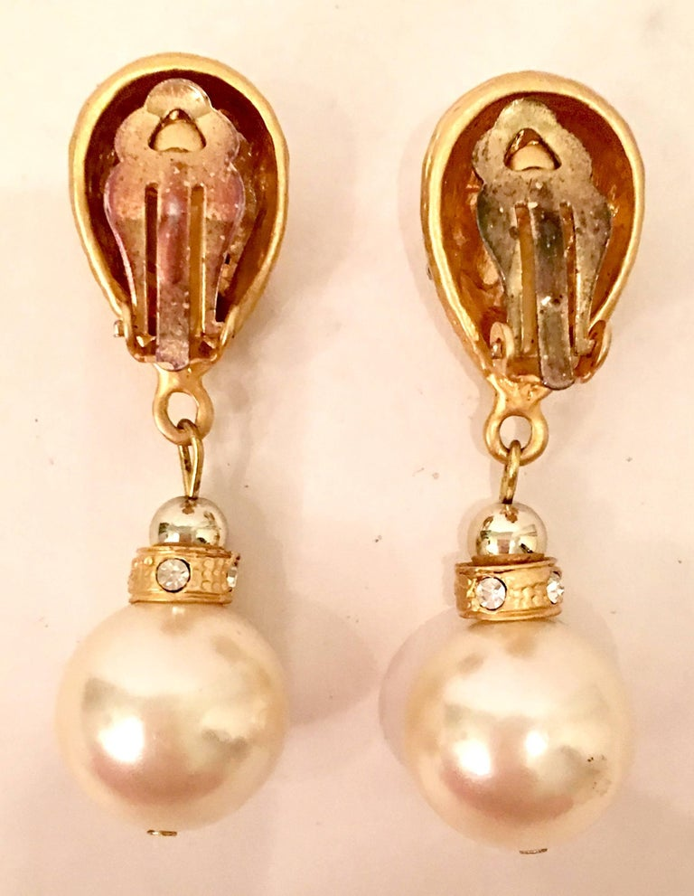 80'S Gold & Faux Pearl Bead Swarovski Crystal Drop Earrings By, Christian Dior For Sale 1