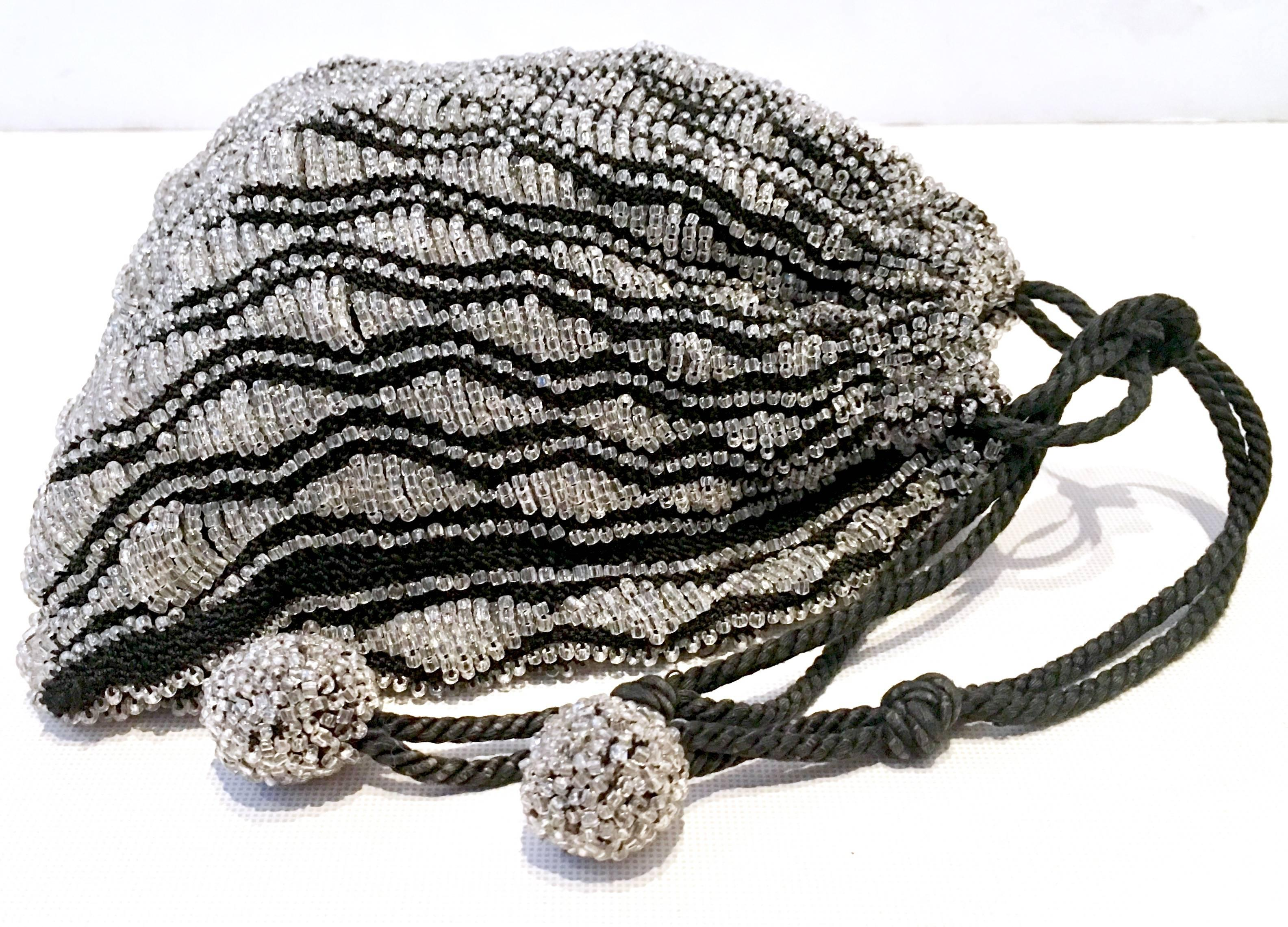 Clothing, Shoes & Accessories Art Deco Antique Art Deco Crochet Silver Grey Bead Lined Chain Drawstring Flapper Purse