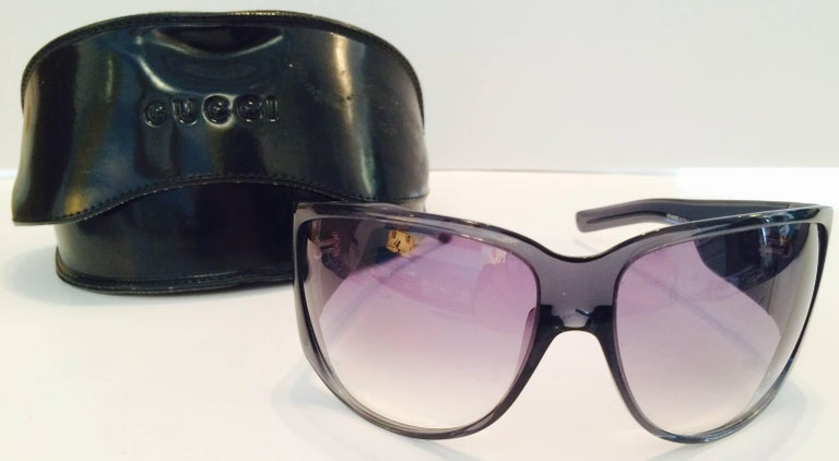 Gucci Smoky Blue With Tinted blue to Purple Fade Lens & Swarovski Crystal Clear Rhinestone Embellished