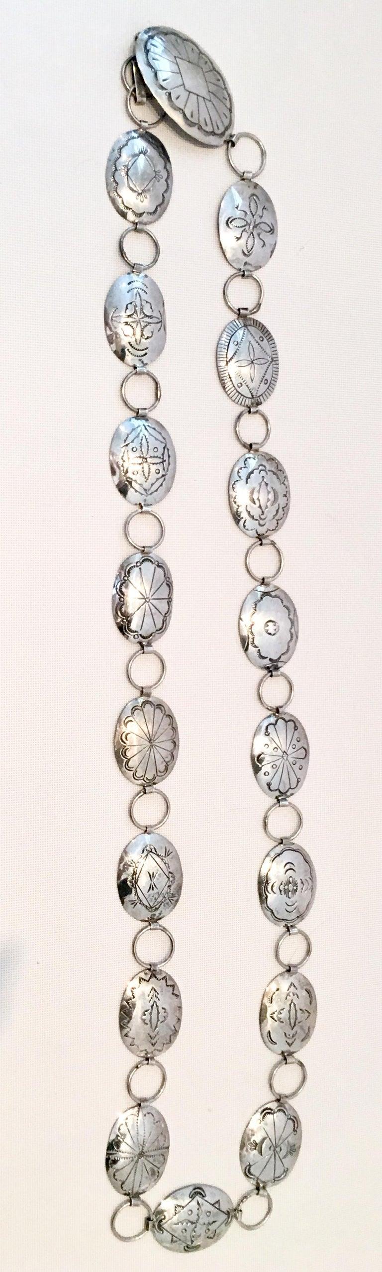 70s Native American Sterling Silver Concho Belt By Wilbur Wauneka