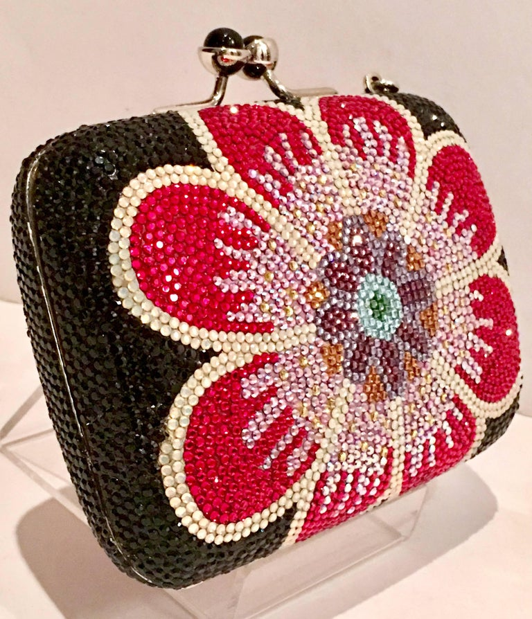 Judith Leiber Swarofski Crystal Couture Floral Minaudiere Box Evening Bag 4