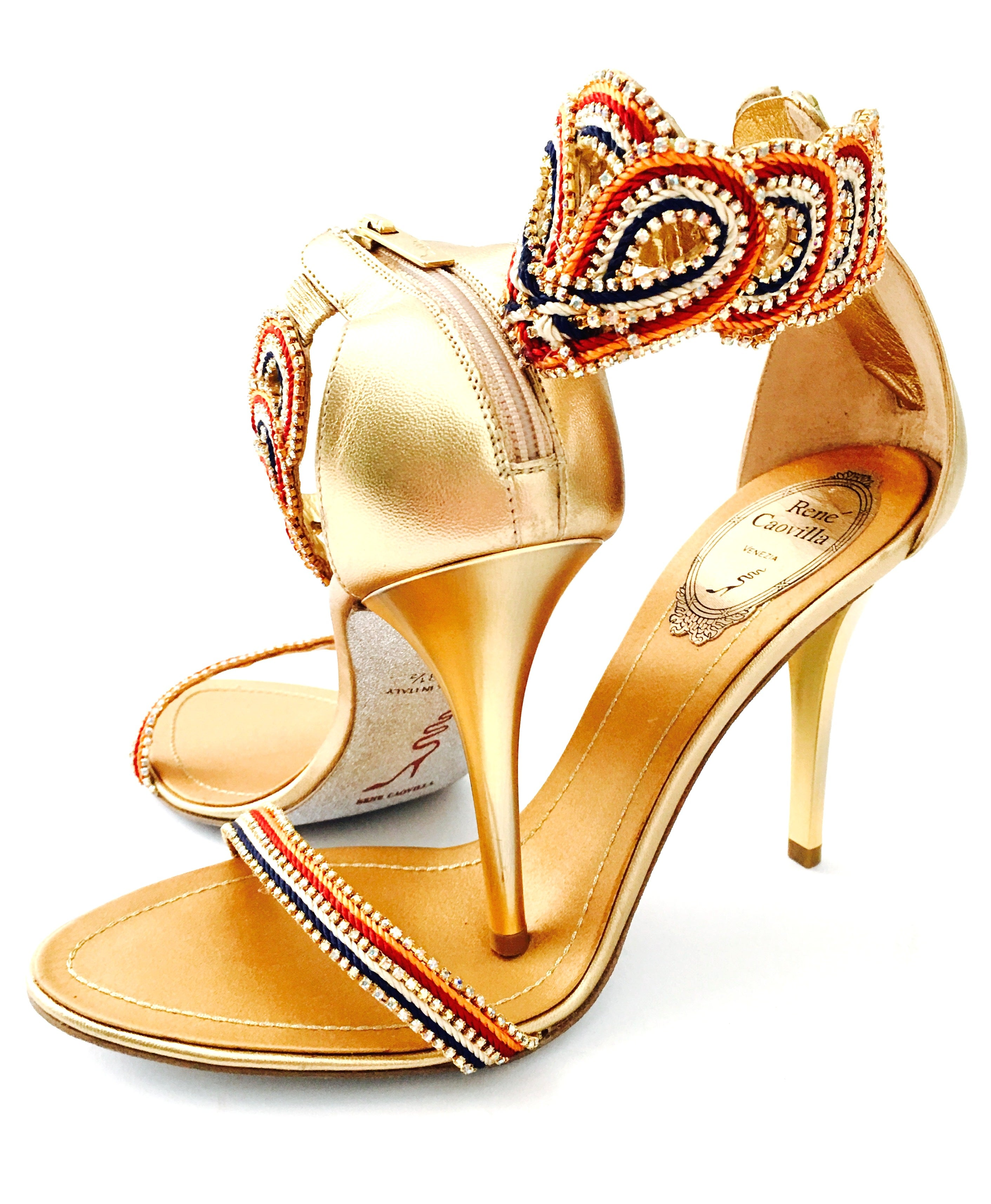 b590b5d4e Contemporary and new rene caovilla metallic embellished ankle wrap sandals  for sale at stdibs jpg 2823x3428