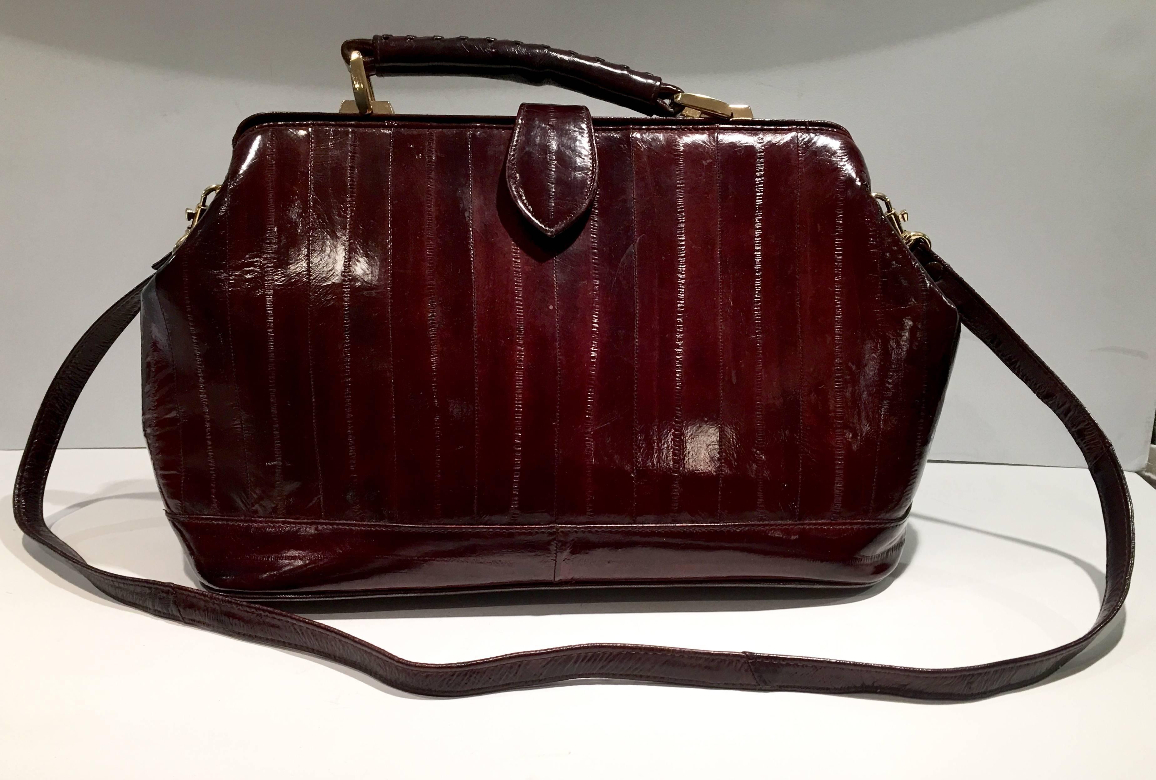 1stdibs Vintage Authentic Eel Skin Oxblood doctors Hand Bag cPDtRM1d33