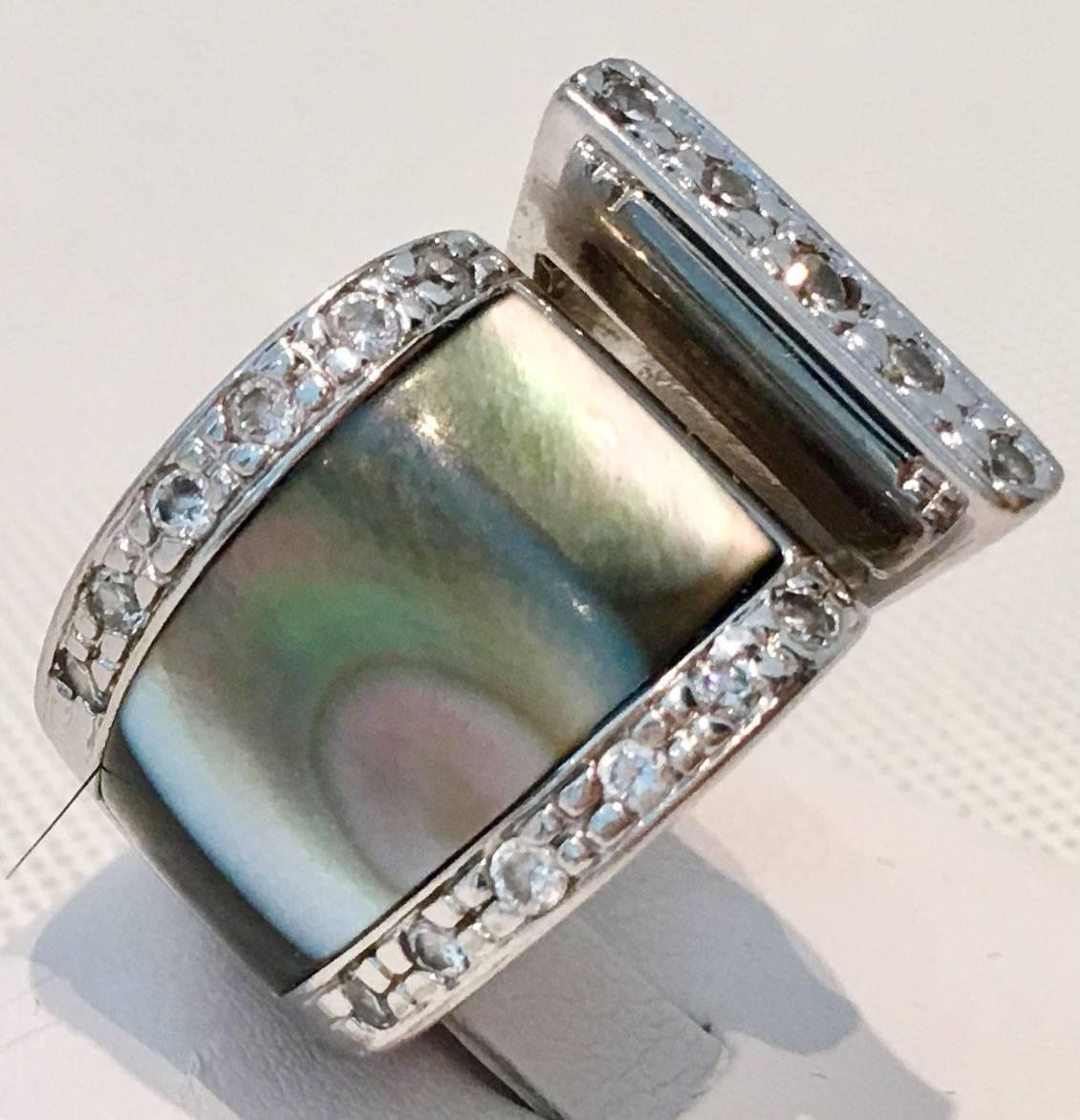 Sterling silver sale - Modern Sterling Silver and Pearl Wrap Ring