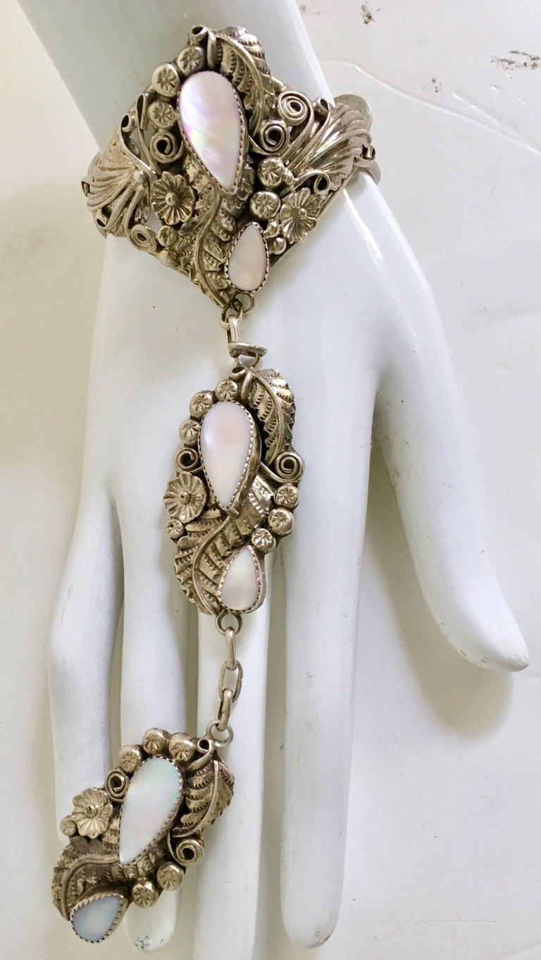"""Art Nouveau Navajo Sterling and Mother Of Pearl """"Slave ..."""