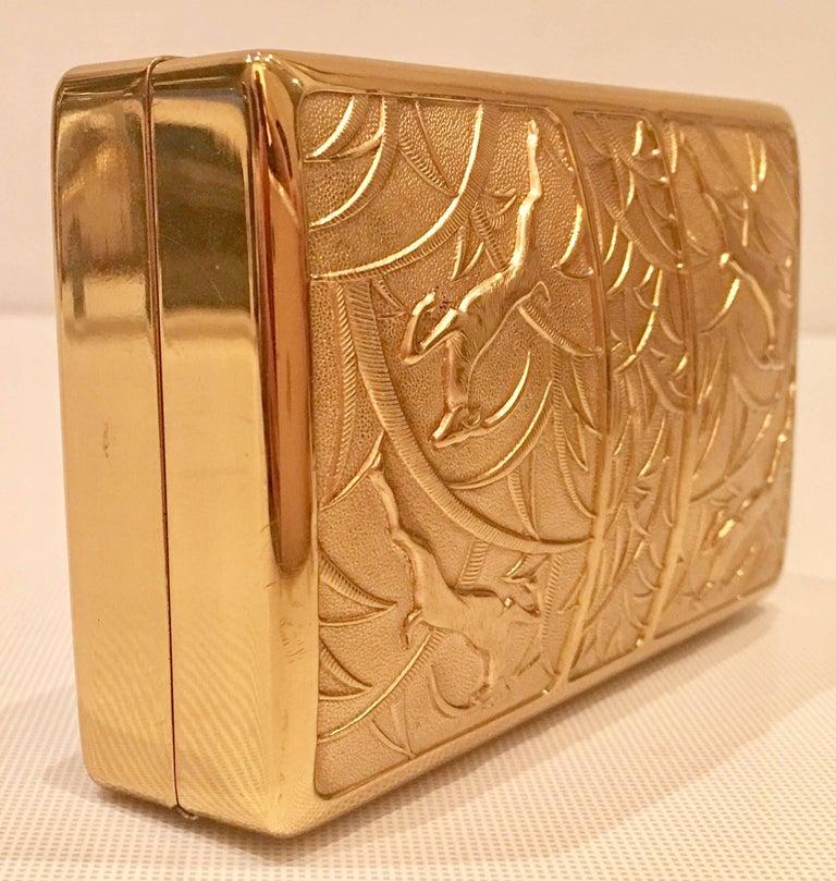 40 S Art Nouveau Domed Gilt Brass Minaudiere Evening Bag