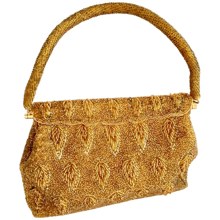 1950'S Gold Glass Bead Evening Bag By, Steven Chu - Hong Kong