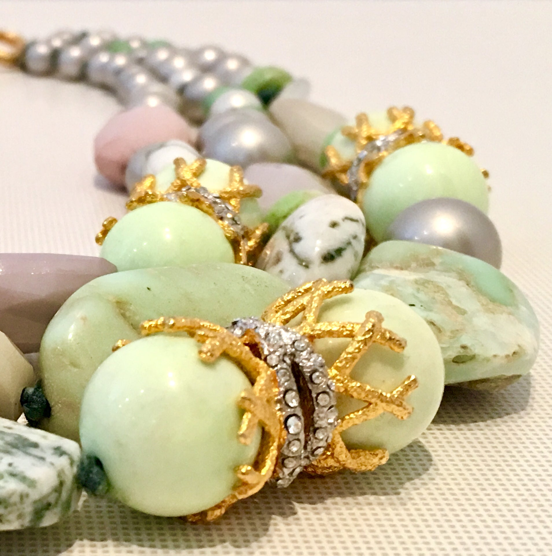 Contemporary Faux Pearl and Gemstone Multi Strand Necklace By ...
